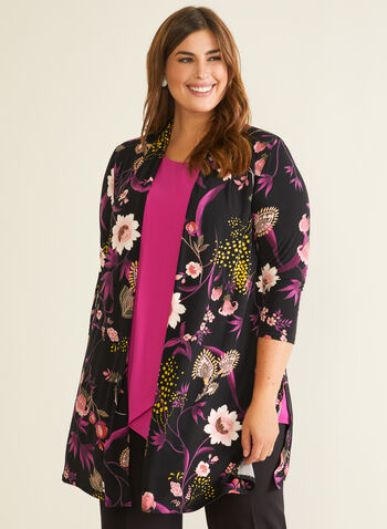 Floral Print Open Front Top, Black,  top, open front, 3/4 sleeves, floral, fall winter 2020