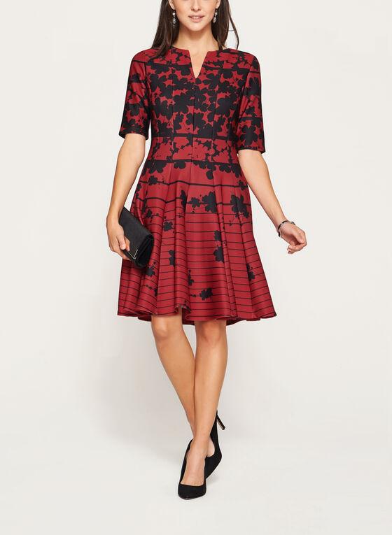 Robe ajustée et évasée à motif fleuri contrastant, Rouge, hi-res