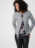 Pearl Embellished Cropped Jacket, Grey, hi-res