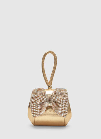Bow Box Clutch, Gold, hi-res