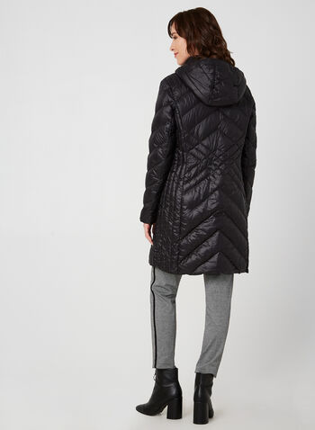 BCBGeneration - Packable Down Coat, Black, hi-res,  BCBGeneration, coat, outerwear, down, packable, long sleeves, fall 2019, winter 2019