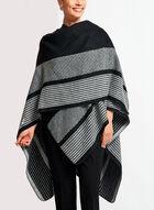 Poncho style pashmina à rayures, Noir, hi-res