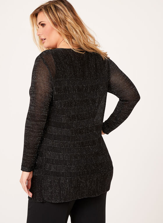 Metallic Stripe Knit Tunic, Black, hi-res