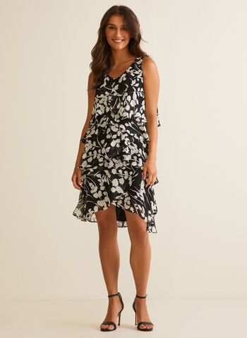 Tiered Leaf Print Dress, Black,  day dress, tiered, chiffon, leaf print, sleeveless, v-neck, spring summer 2020