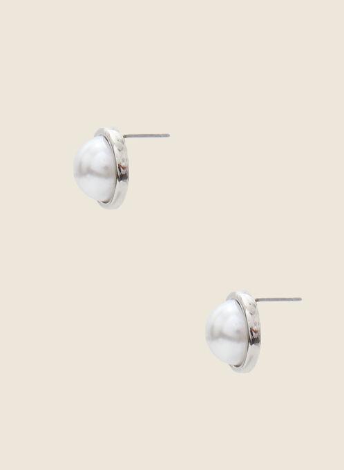 Pearl Stud Earrings, Off White