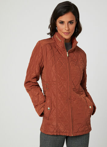 Quilted Hooded Transition Coat, Orange, hi-res