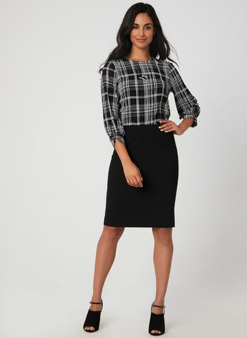 Plaid Print Crepe Blouse, Black, hi-res,  blouse, plaid print, crepe, back keyhole, 3/4 sleeves, fall 2019, winter 2019