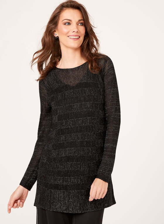 Metallic Knit Tunic Sweater, Black, hi-res