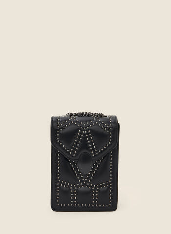 Chain Strap Cellphone Bag, Black,  fall winter 2020, bag, shoulder strap, cell phone, accessory, studded, leather