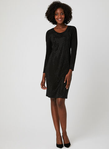 Facetted Crystal Pencil Dress, Black, hi-res