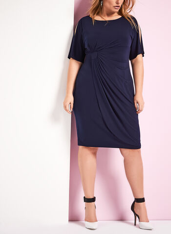 Cold Shoulder Faux Wrap Dress , , hi-res