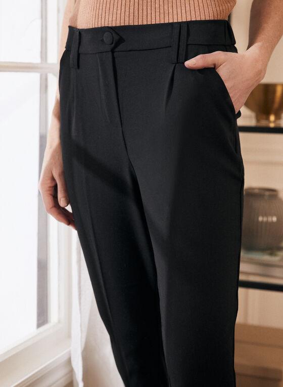 Pantalon à jambe étroite et ourlet plié , Noir