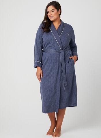 Claudel Lingerie - Polka Dot Print Robe, Blue, hi-res