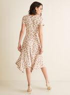 Dotted Print Faux Wrap Dress, Brown