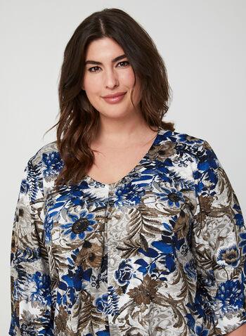 Floral Print Nightgown, Blue, hi-res,  Canada, sleepwear, pyjama, nightgown, floral print, fall 2019, winter 2019
