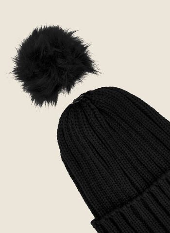 Removable Pom Pom Ribbed Hat, Black,  fall winter 2020, tuque, hat, knitting, accessory, faux fur, removable