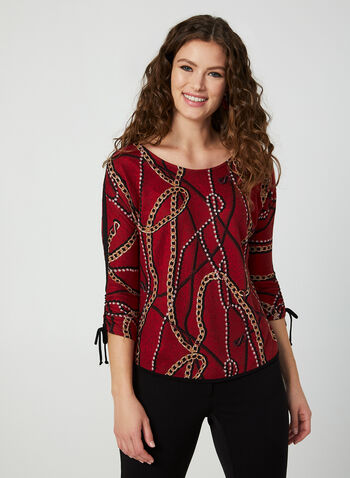 Chain Print Top, Red, hi-res,  Canada, top, shirred, 3/4 sleeves, fall 2019, winter 2019