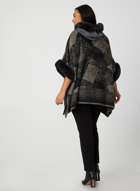Ness - Hooded Knit Poncho, Black