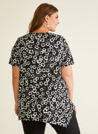 Floral Print Crepe Top, Black