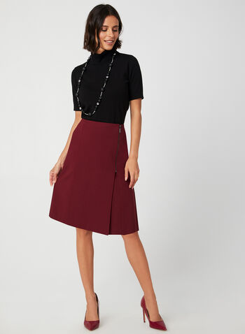 A-Line Skirt, Red, hi-res,  zipper detail, a-line, short skirt, stretchy, fall 2019, winter 2019
