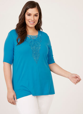 Elbow Sleeve Crochet Detail Top, Blue, hi-res