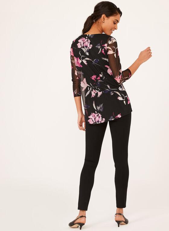 Floral Print ¾ Sleeve Mesh Top, Black, hi-res