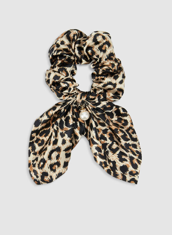 Leopard Print Hair Tie, Black, hi-res