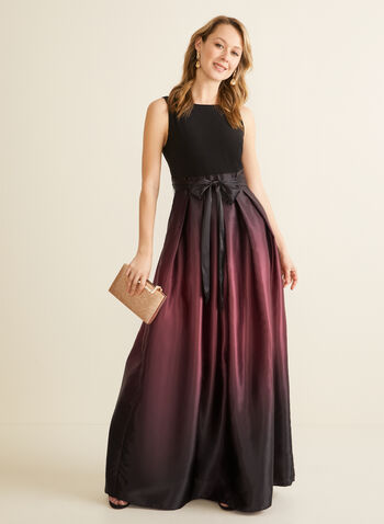 Ombré Satin Evening Dress, Black,  dress, evening, round neck, v-back, sleeveless, jersey, satin, ombre, belt, a-line, crinoline, spring summer 2020