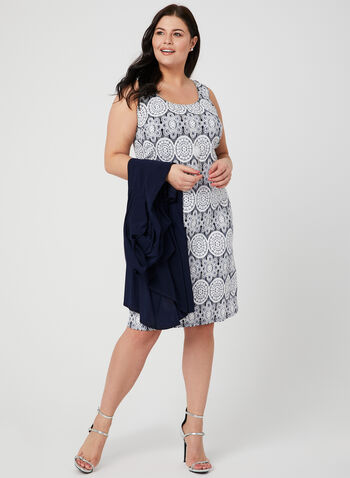 Jersey Shift Dress & Duster, Blue, hi-res