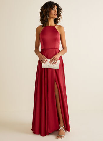 Apron Neck Satin Dress, Red,  prom dress, sleeveless, apron neck, satin, pockets, full length, corset, spaghetti strap, train, a-line, pockets, lace-up spring summer 2020