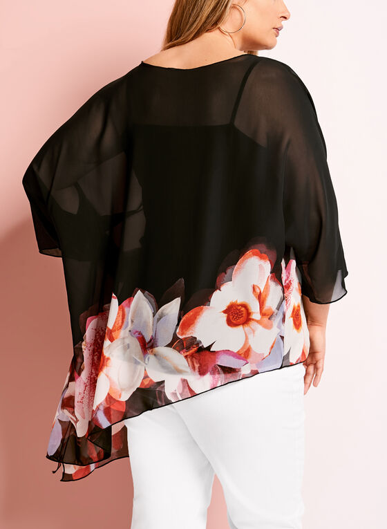 Asymmetric Floral Print Blouse, Black, hi-res