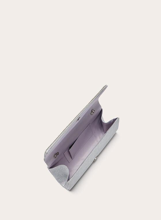 Pochette texturée à détails cristaux, Argent, hi-res