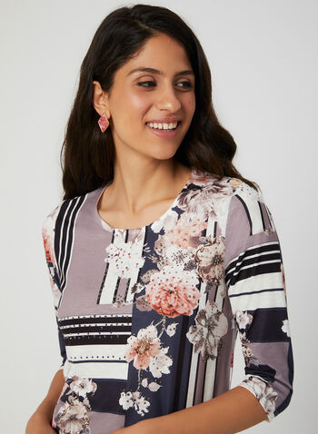 Floral Print ¾ Sleeve T-Shirt, Blue, hi-res,  t-shirt, 3/4 sleeves, floral print, rhinestones, fall 2019, winter 2019