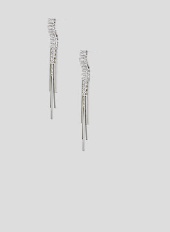 Metallic Fringe Drop Earrings, Silver, hi-res