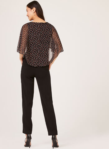 Polka Dot Capelet Blouse, Orange, hi-res