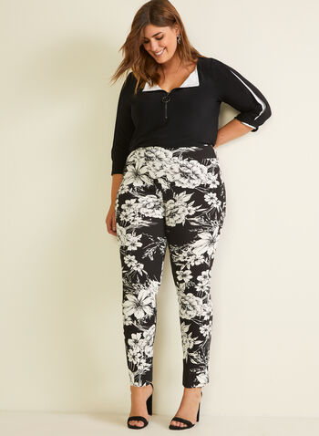 Joseph Ribkoff - Floral Print Pull-On Pants, Black,  pants, floral print, city fit, pull-on, slim leg, bengaline, ankle length, spring summer 2020