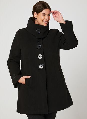 Faux Wool Envelope Collar Coat, Black, hi-res