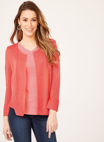 Alison Sheri - Open Front Knit Cardigan, Orange, hi-res