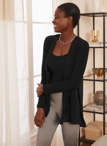 Open Front Long Sleeve Top, Black,  top, opent front, chiffon, long sleeves, high low, jersey, spring summer 2020