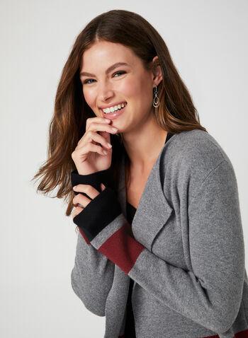 Colour Block Knit Cardigan, Grey, hi-res,  open-front sweater, edge-to-edge cardigan, knit cardigan