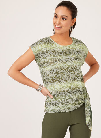 Tie Die Print Top, Green, hi-res