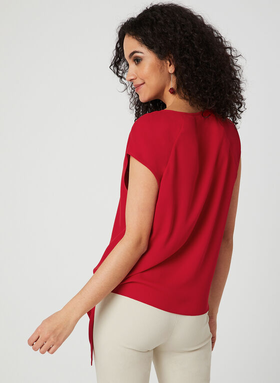 Front Tie Crepe Blouse, Red