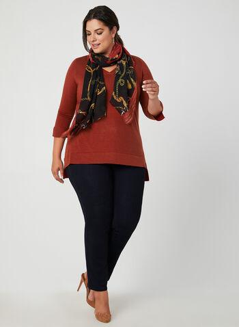 V-Neck ¾ Sleeve Sweater, Red,  v-neck top