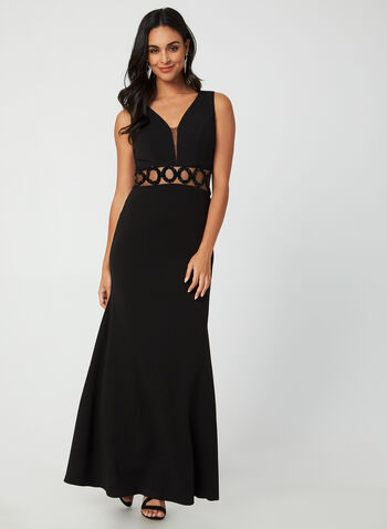 Stretch Crepe Beaded Gown, Black,  gown, occasion dress, crepe, mesh, beads, sleeveless, V-back, fall 2019, winter 2019