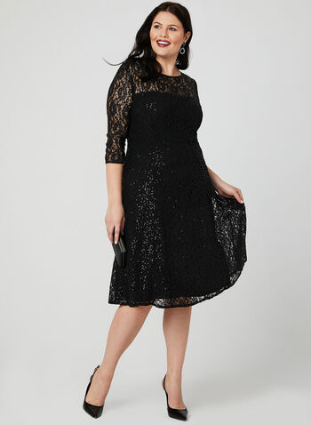 Sequin Lace Illusion Dress, Black, hi-res