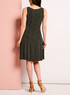 Sleeveless Dot Print Fit & Flare Dress, Black, hi-res
