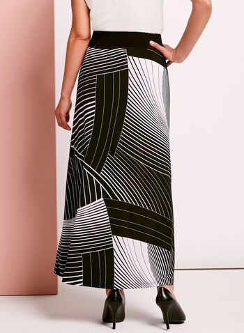 Abstract Stripe Print Maxi Skirt, , hi-res