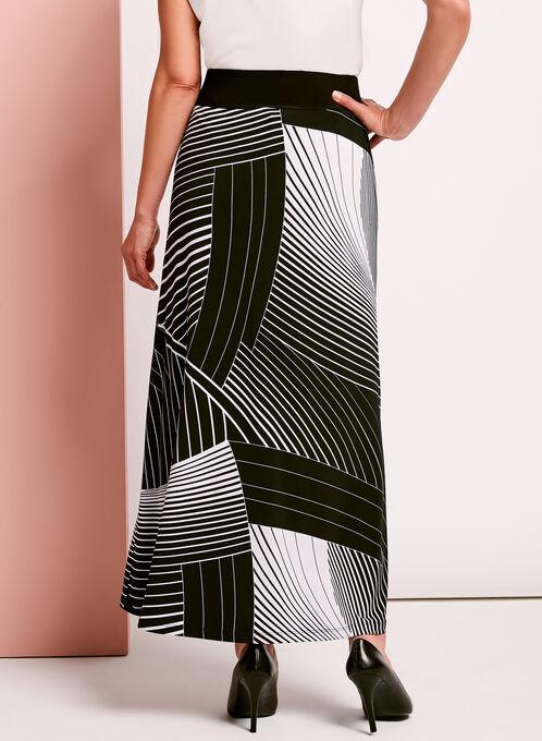 Abstract Stripe Print Maxi Skirt, Black, hi-res
