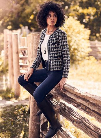 Jeans coupe signature à jambe droite, Bleu,  jeans, jambe droite, strass, poches, signature, coton, printemps été 2020