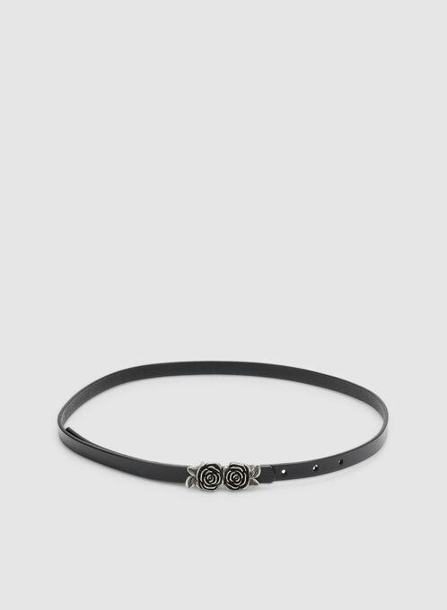 Thin Rose Buckle Belt, Black, hi-res